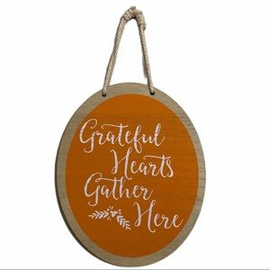 Grateful Hearts Gather Here Wood Wall Hanging
